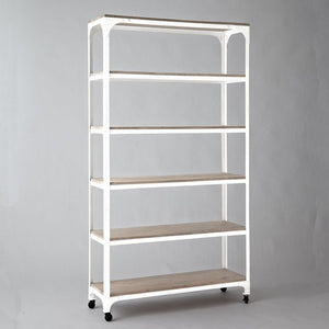 Armadale Solid Wood Bookcase With Iron Frame In Stain & White Finish