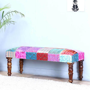 Jodhpuri Two Seater Bench Assorted In Patch Work Fabric