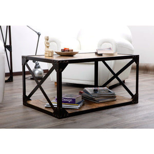 Calais Solid Wood X Industrial Center Table