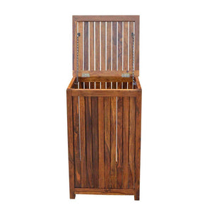 Nime Solid Wood Laundry Basket In Honey Finish - Lakkadhaara