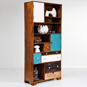 Ararat Solid Wood Bookshelf With 6 Drawers & 2 Doors