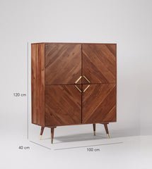 Troy Cabinet in Solid Wood & Brass