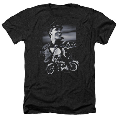 Elvis - Motorcycle Adult Heather T-Shirt