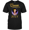 Queens Are Born In July Birthday T Shirt for Black Women