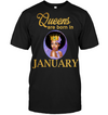 Queens Are Born In January Birthday T Shirt for Black Women