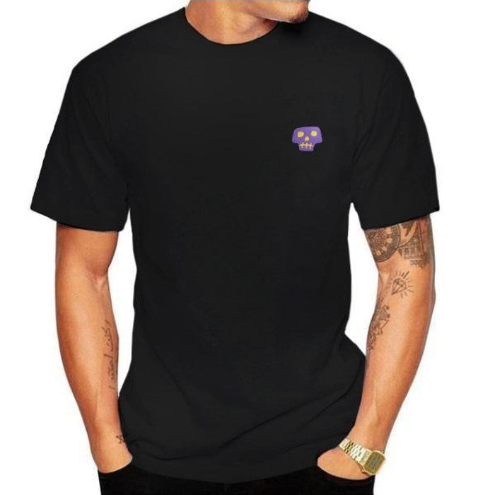 Embroidered Sketched Skull  T-Shirt
