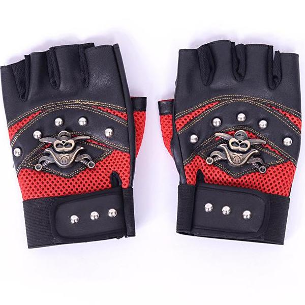 Racing Skull Fingerless Gloves