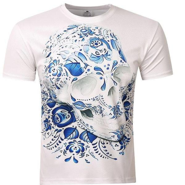 Abstract Blue Skull T-Shirt