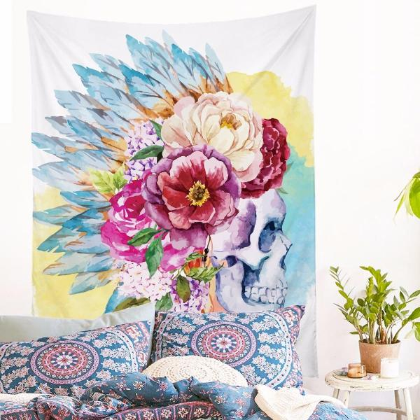 Indian Floral Skull Tapestry