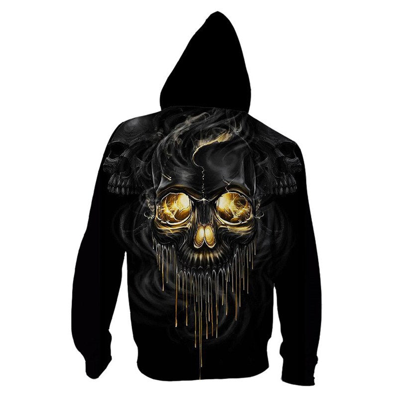Melting Skull Zip Up Hoodie