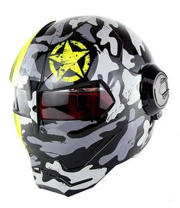 Yellow Star Iron man Motorcycle Helmet