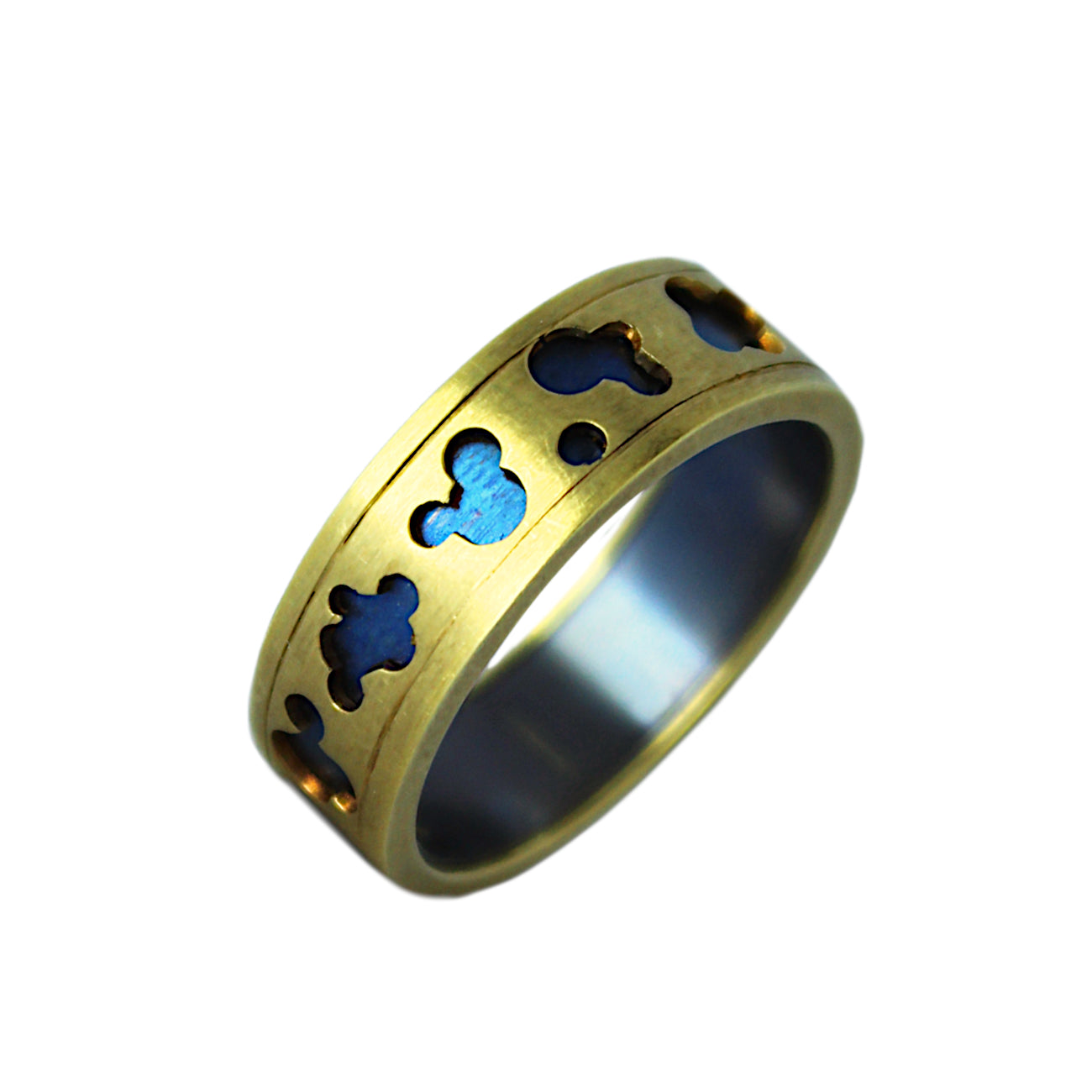 Blue Titanium Gold Ring