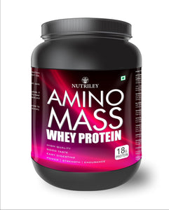 Nutriley Amino Mass - Body Weight / Muscle Gainer Whey Protein Supplement  (500 Gms)