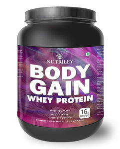 Nutriley Body Gain - Body Weight / Muscle Gainer Whey Protein Supplement  (1 KG)