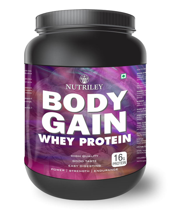 Nutriley Body Gain - Body Weight / Muscle Gainer Whey Protein Supplement (500 Gms)