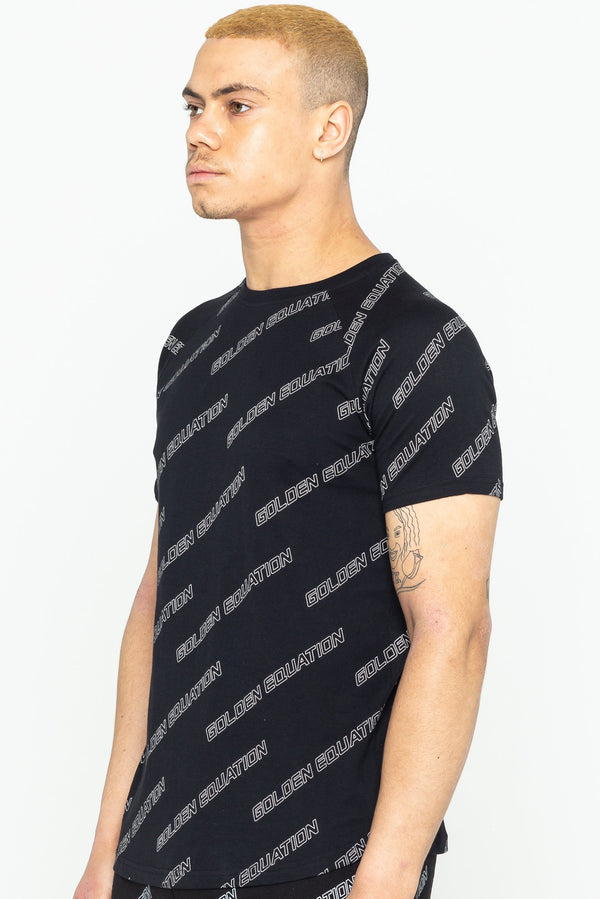 Golden Equation Brooklyn Logo Print Men's T-Shirt - Black from Golden Equation