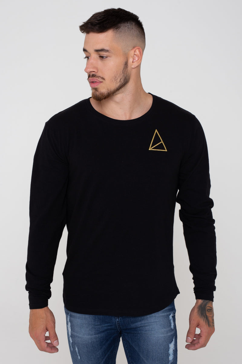 Golden Equation Code Muscle Fit Longline Curved Hem Men's T-Shirt - Black from Golden Equation