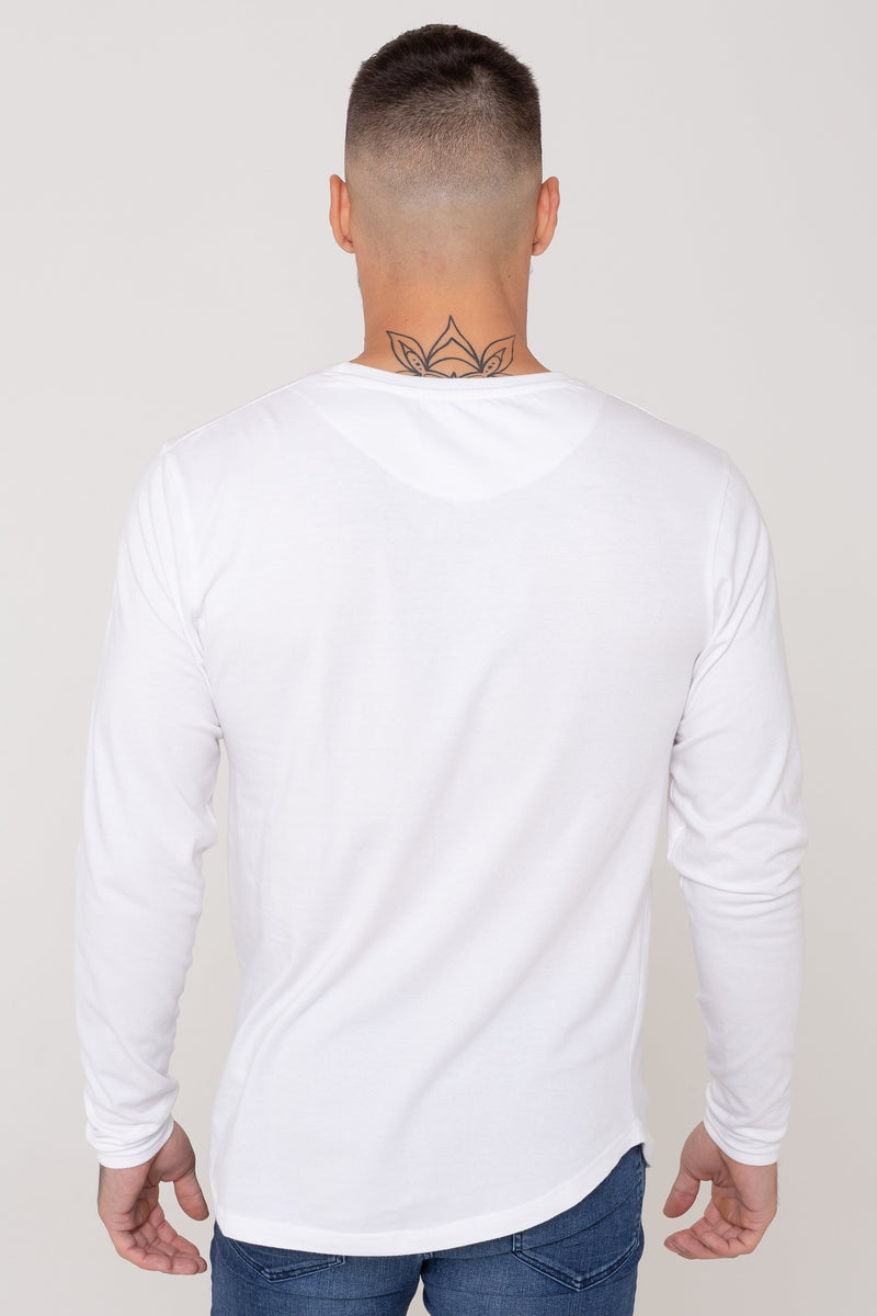 Golden Equation Code Muscle Fit Longline Curved Hem Men's T-Shirt -  White from Golden Equation