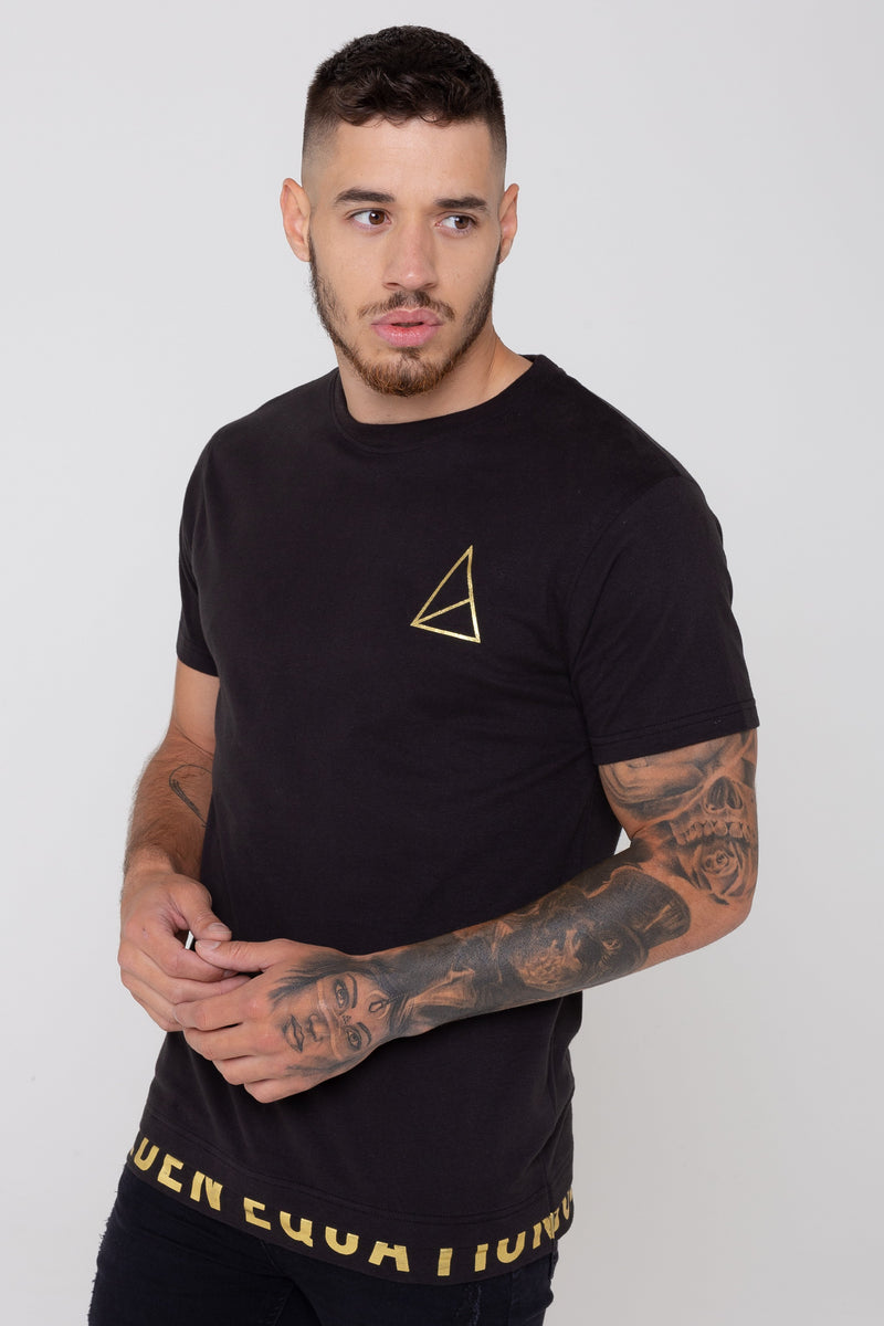 Mens Eden Double Layer Hem T-Shirt -  Black from Golden Equation