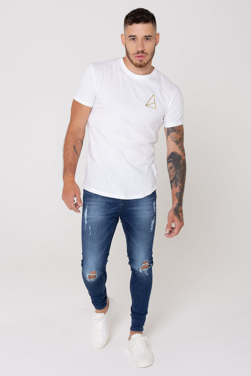 Golden Equation Pact Basic Muscle Fit Longline Men's T-Shirt -  White from Golden Equation