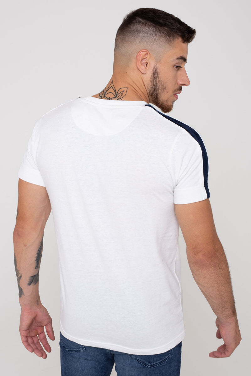 Mens Harvey Edge Piped Detailed Tee - White (T-Shirts) - Golden Equation