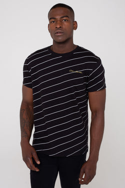 Golden Equation Kairos Cotton Angled Pin Stripe Men's T-Shirt - Black from Golden Equation