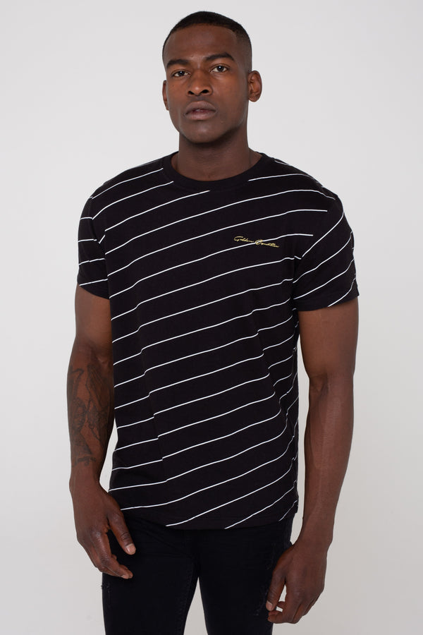 Mens Kairos Cotton Angled Pin Stripe T-Shirt - Black from Golden Equation