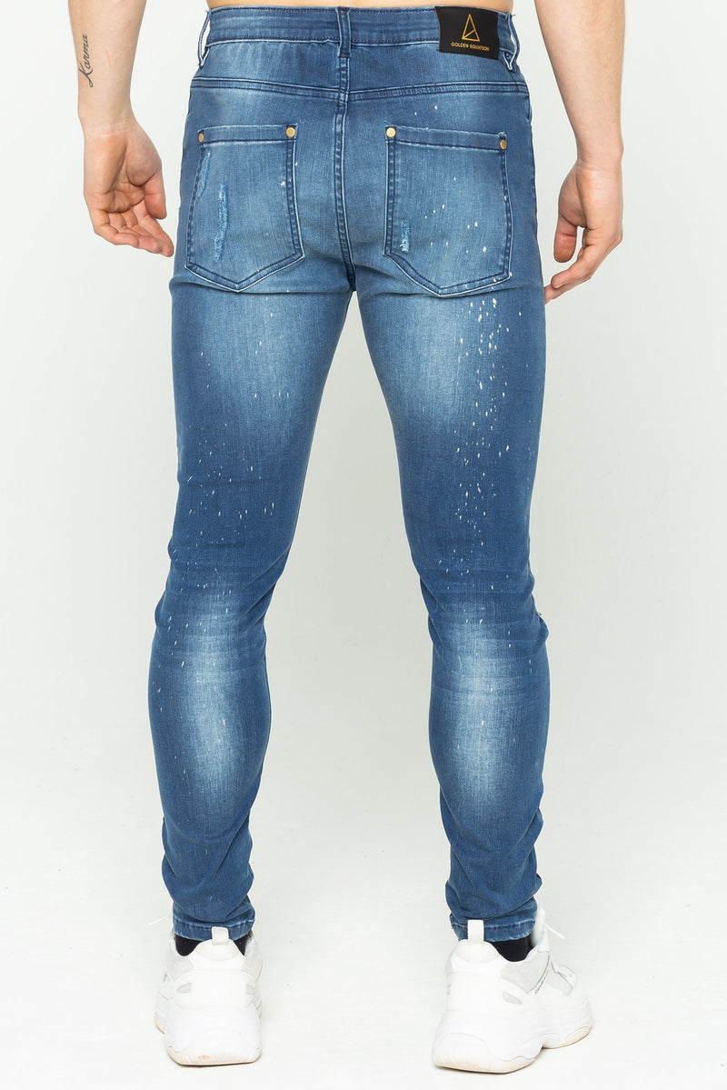 Golden Equation Adrian Spray On Men's Skinny Jeans - Mid Blue from Golden Equation