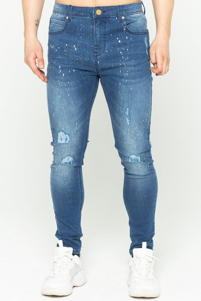 Adrian Spray On Men's Skinny Jeans - Mid Blue from Golden Equation
