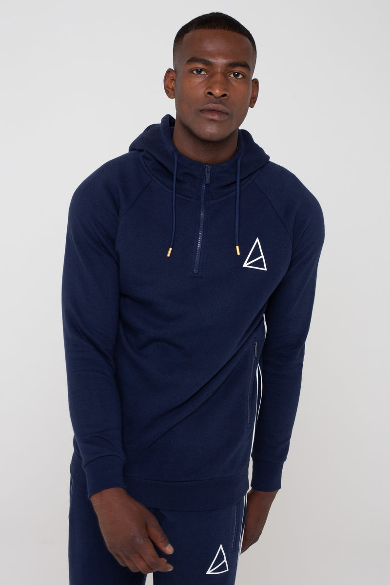 Mens Mens Aesthetic Velour Panel Hoodie - Navy (Hoodies) - Golden Equation