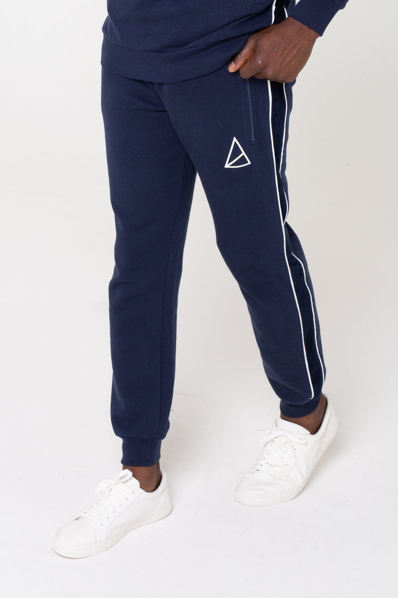 Mens Aesthetic Velour Panel Tracksuit -  Navy from Golden Equation