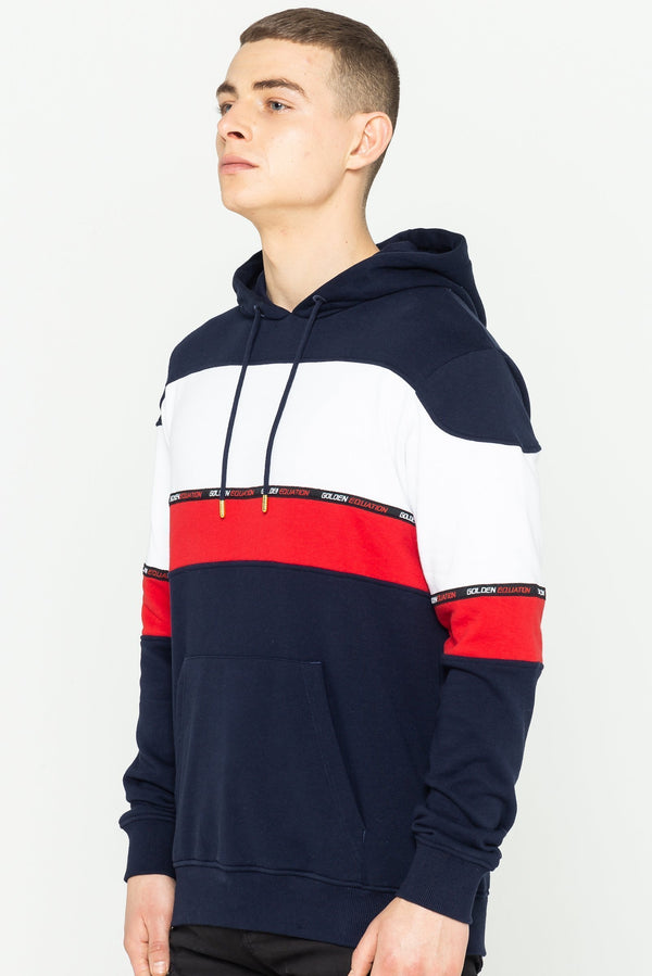 Mens Mens Barclay Striped Hoodie - Navy (Hoodies) - Golden Equation