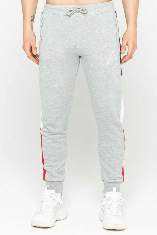Mens Mens Bayard Side Stripe Joggers - Grey Marl (Joggers) - Golden Equation