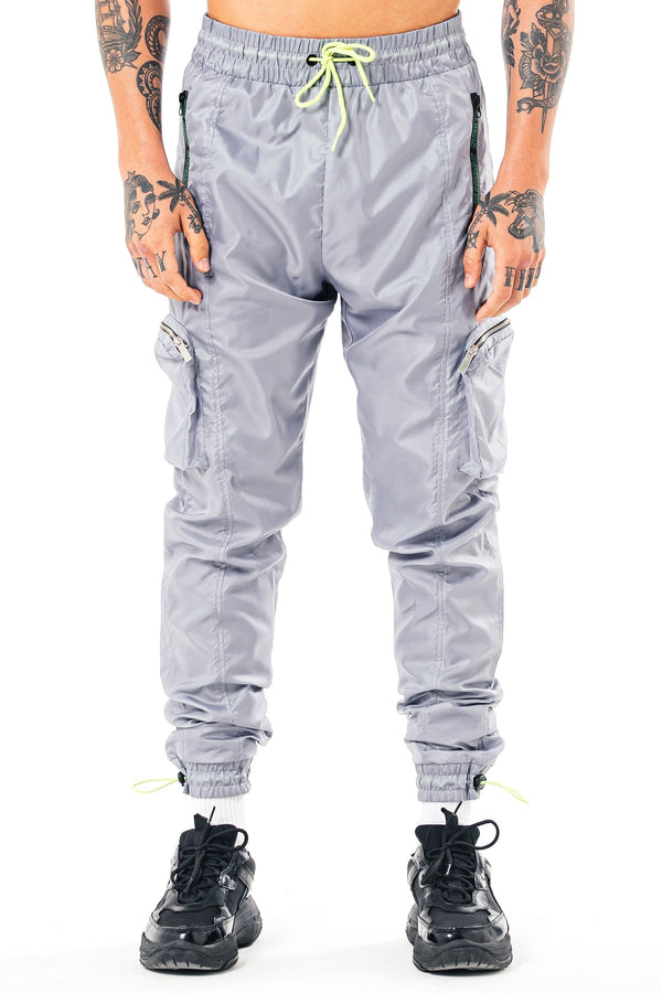 Mens Mens Grande Cargo Track Pants - Silver (Joggers) - Golden Equation