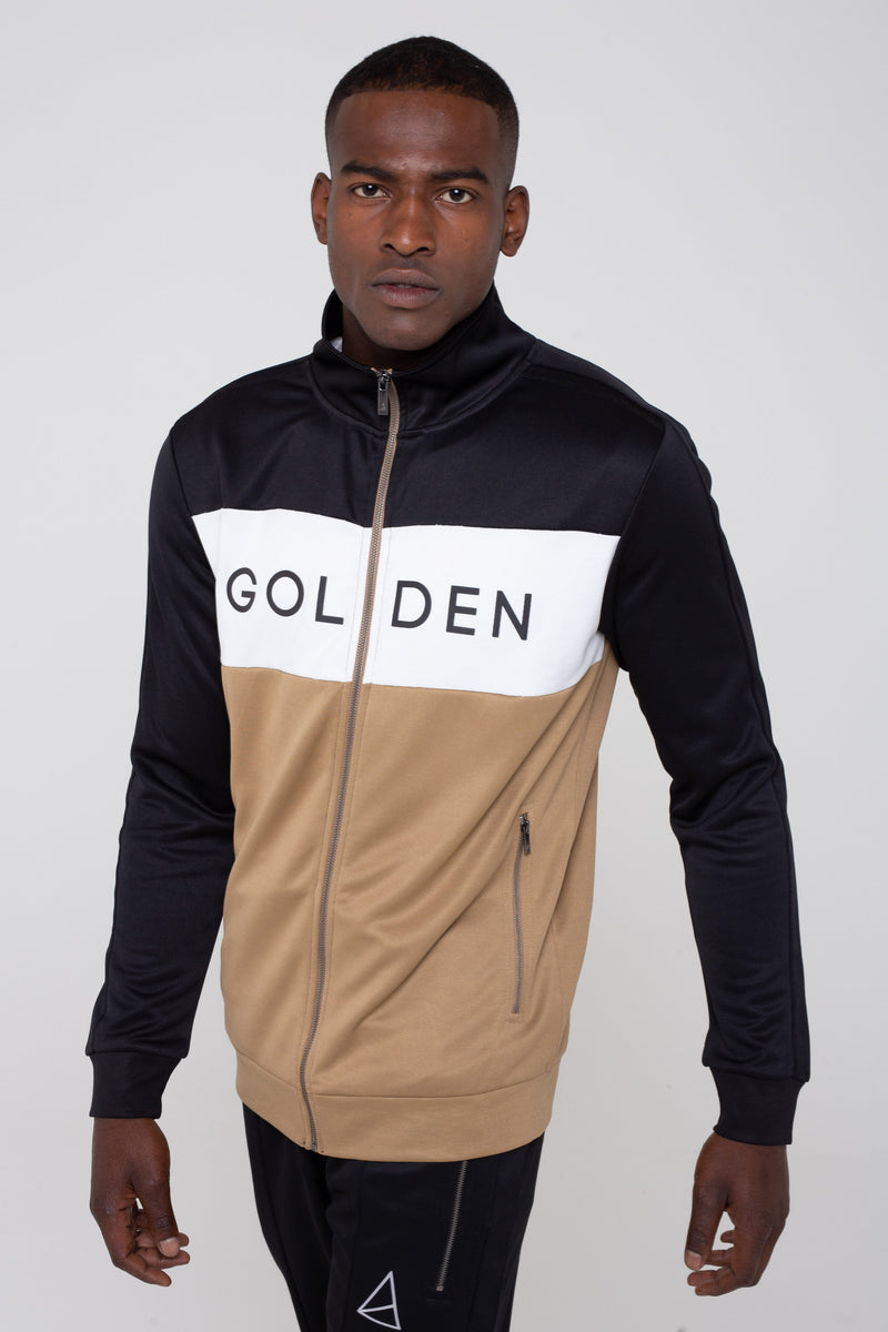 Golden Equation Havana Colour Block Zip Men's Sweatshirt - Black/Stone from Golden Equation