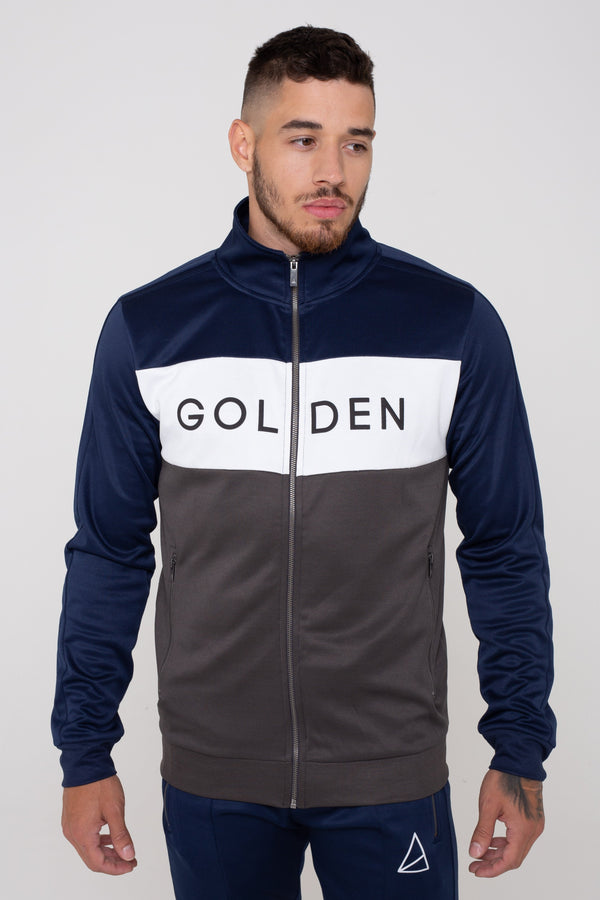 Mens Havana Colour Block Zip Tracksuit -  Navy/Grey from Golden Equation