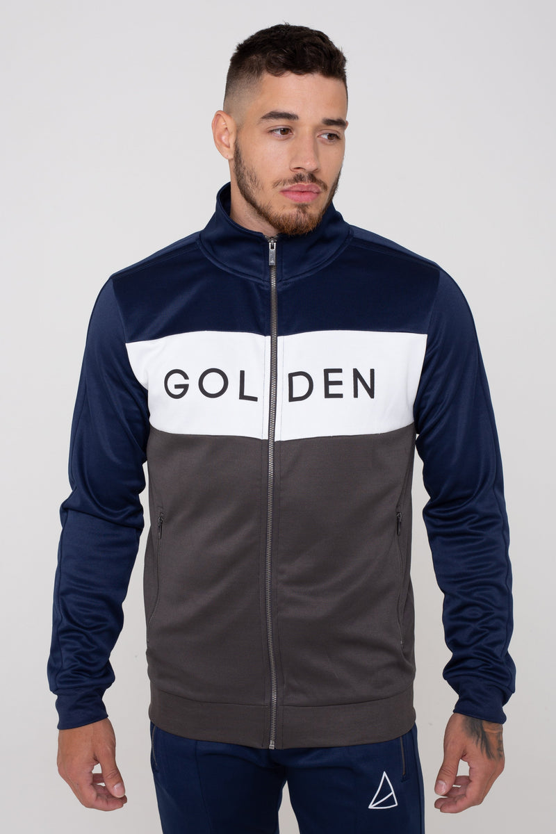 Mens Mens Havana Colour Block Zip Tracksuit -  Navy/Grey (Tracksuits) - Golden Equation