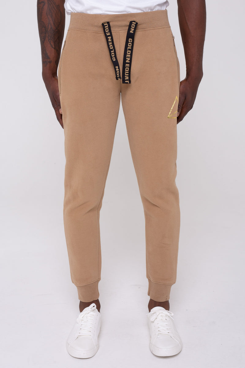 Mayday Fleeceback Skinny Fit Men's Joggers - Stone from Golden Equation