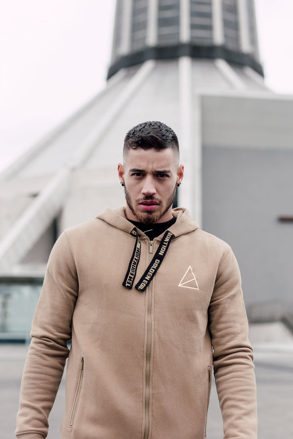 Palace Zip Through Men's Hoodie -  Stone from Golden Equation
