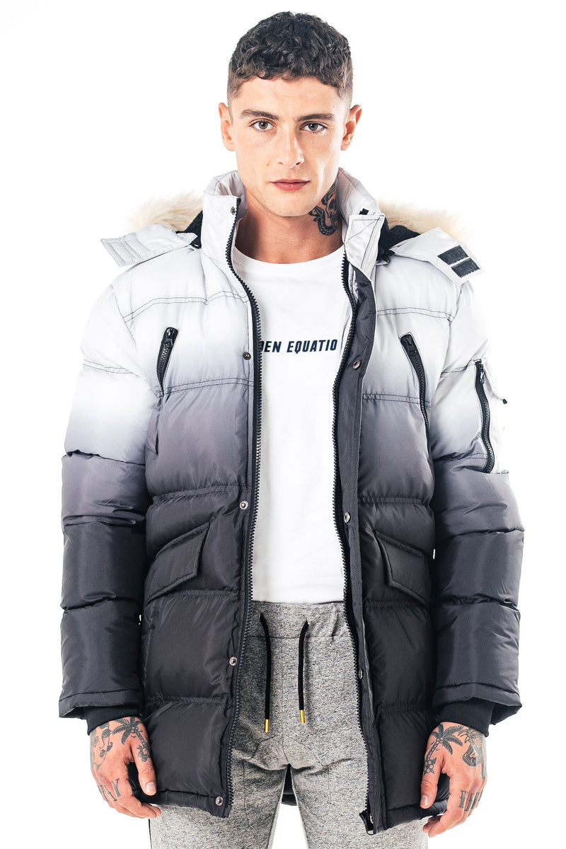 Mens Penza Long Puffer Jacket - Black/White from Golden Equation