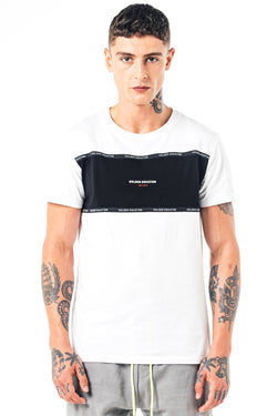 Mens Perez Panel T-Shirt - White from Golden Equation
