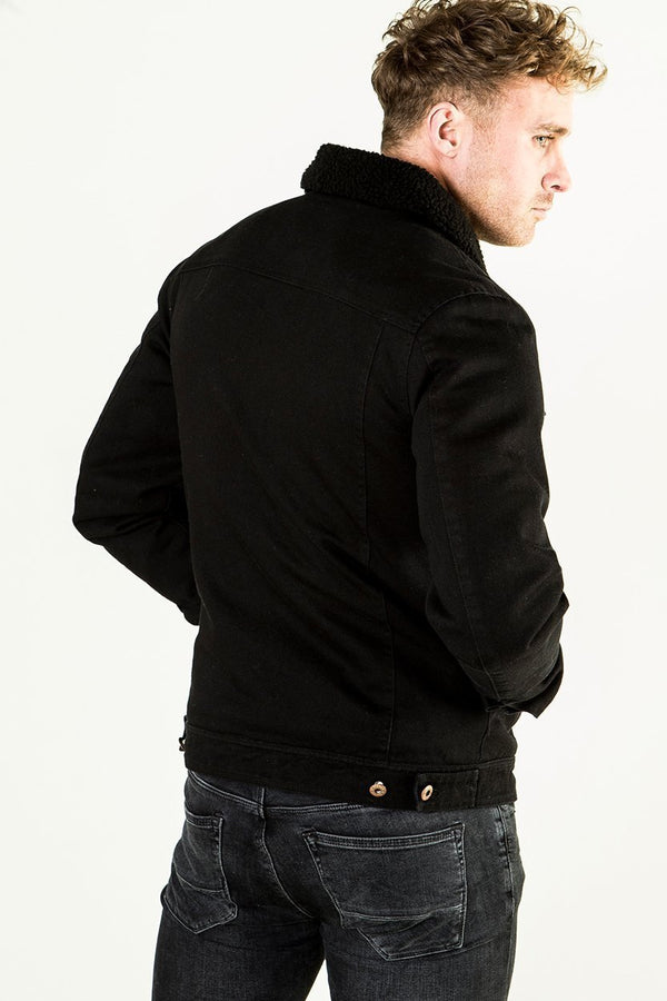 Golden Equation Solin Bourg Collar Trucker Men's Jacket -  Black from Golden Equation