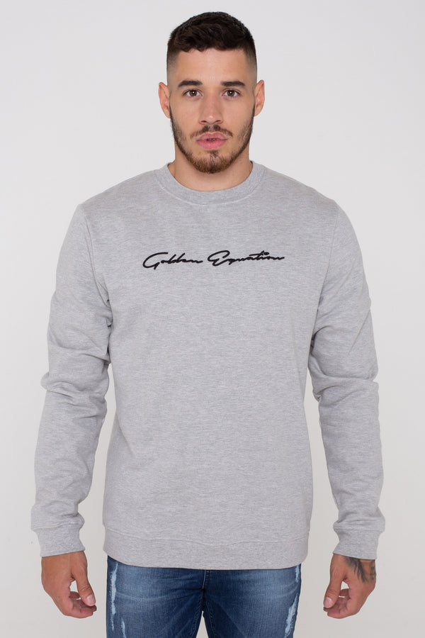 West Basic Signature Fleece Back Men's Jumper -  Grey from Golden Equation
