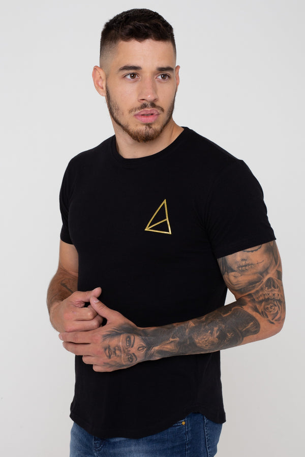 Golden Equation Pact Basic Muscle Fit Longline Men's T-Shirt - Black from Golden Equation