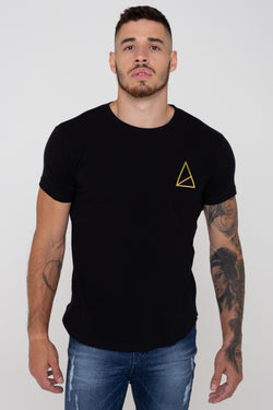 Mens Pact Basic Muscle Fit Longline Tee - Black (T-Shirts) - Golden Equation