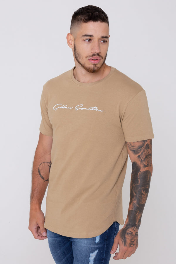 Mens Signature Longline Tee - Stone (T-Shirts) - Golden Equation
