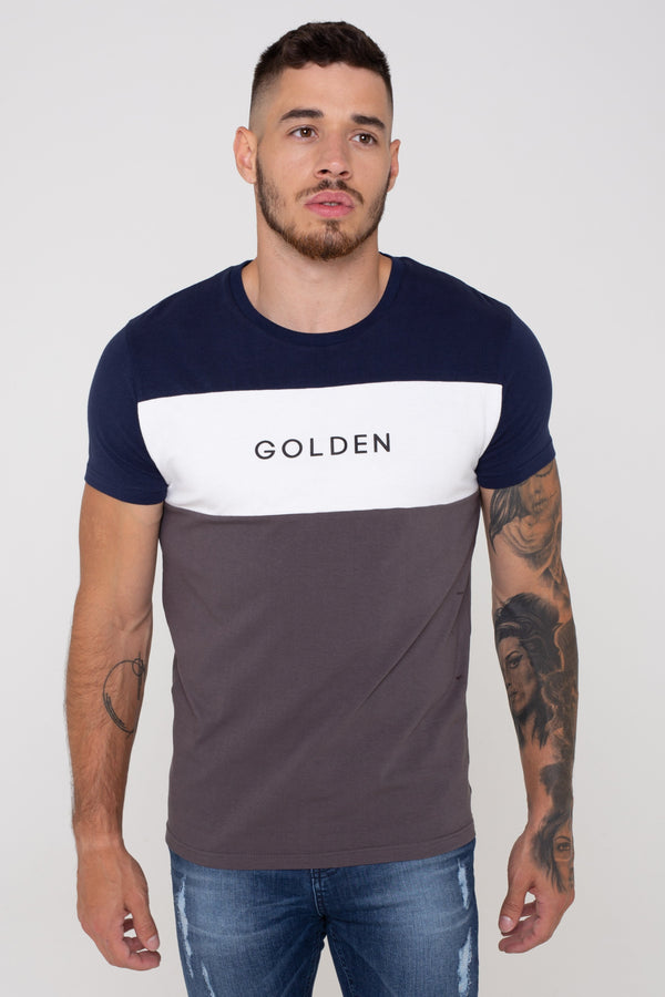 Villa Colour Block Men's T-Shirt - Charcoal from Golden Equation