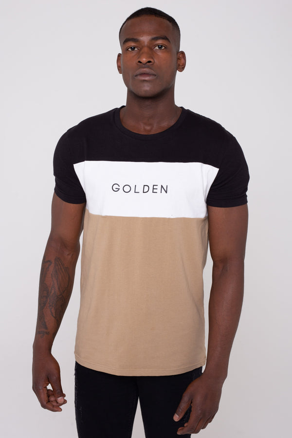 Golden Equation Villa Colour Block Men's T-Shirt - Stone from Golden Equation