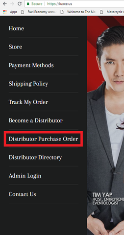 Frontrow Distributor Purchase Order Page