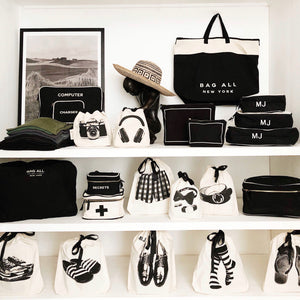 Organize with Black Pcking cube, Shoe Bag, World Traveler Tote Black from Bag-all USA
